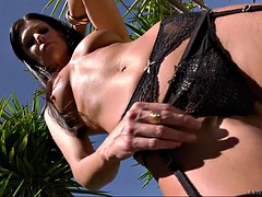 milf india summer in titillating appliance posing outdoors