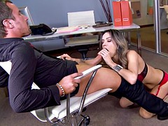 nadia styles takes his fat dick in her throat and between her big tits