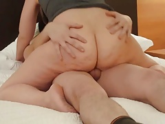 Big Ass Hot Wife Rides Young Dick For Cum