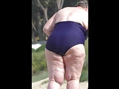 comely bbw granny in blue swimsuit