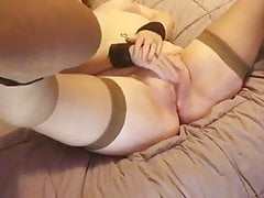 Unpaid Wife upon Stockings and Spreader Bar Cums