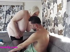 Mature Sally performs for a much younger man