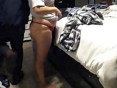 bbw wife pink thong getting dressed big nipples