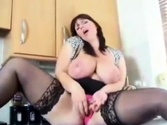 Big Breasted British Girl Cums In Kitchen