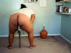 Black girl plays with peculiarity on cam
