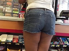 Pretext Ebony Ass and Thighs in Denim Shorts