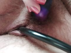 BBW uses vibrator on hairy stuffed pussy