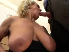 Hard nipples MILF take stockings fucks dildo