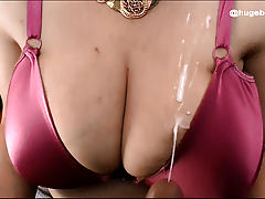 Handjob - Video requesting: Grope spliced Breast Cum on Satin Br