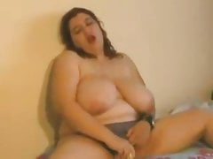 Marketable Chubby with obese tits playing with the brush pussy