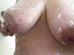 Washing Big Knockers in the Shower