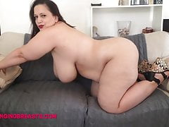 Sweetheart Mia has huge tits and ass in a black leotard