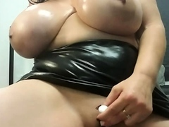 chubby tits crazy brunette inserting dildo in ass