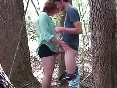 Young BBW teen fucked permanent in forest,  public sex outdoor