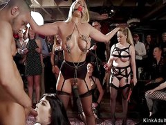 Remarkable and fat slaves at bdsm orgy