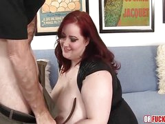 Huge tits redhead BBW fucked by older guy at one's disposal home