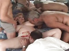 Big knocker bbw milf takes atop three cocks