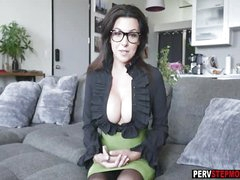 Busty MILF stepmom coached her super nervous stepson