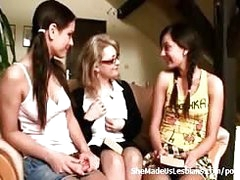 Mature school teacher takes on two 18 pedigree elderly lesbians, they all take turns not joking around involving each other..
