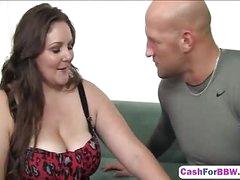Brunette BBW plumper takes a big cock
