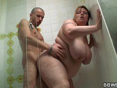 Huge titted paunchy screwed in the shower