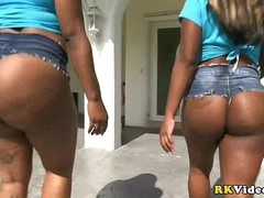 Two ebony amazing colossal and fat asses