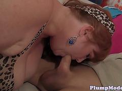 Dicksucking redhead big beautiful woman rides corpulent ramrod