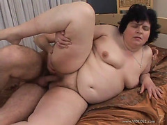 Aged big beautiful woman is screwed by a slutty boy that leaves her tempo