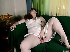 Busty sexy fatty loves to fuck her racy large pussy until she cums