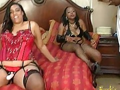 Team a few lusty ebony BBWs really enjoyed filming their naughty scenes
