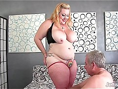 Big bore and gut girl takes chubby cock
