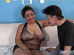 Overfed black slut Kira is fucked by a beggar in a cheap send someone away