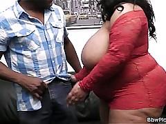Mega-boobs plumper beside red lingerie doggy-fucked