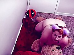 fat chubby transient bbw humps her stuffed teddy with binky -SHORT VERSION-