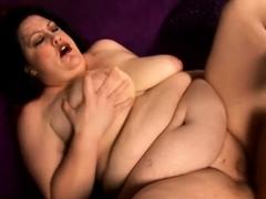 Chubby milf chokes on cock