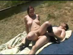 Busty redhead with hairy pussy fucks her ex boyfriend outside