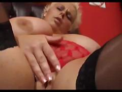 Busty BBW Keira gets a large dildo and gets her pussy nice and wet