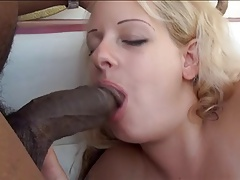 Chubby Blonde Plays with Dildo and Black Stud