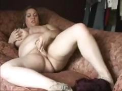 BBW masturbates on couch