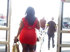 Thick Ass Tight Orange Dress..