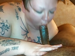 Sexy tattooed Sallow BBW gags, chokes, with the addition of Slobbers upstairs BBC.