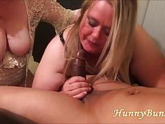 Big Tushy Cuckold Wife BJ Fuck Triad