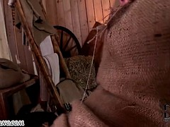 big asian gets double fucked in the barn