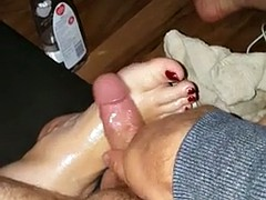 Rubbing my cock out of reach of bbw wifes feet