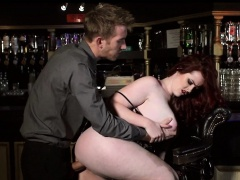 Thick Redhead Fucks Her vice-president before bar