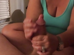 BBW Spliced Gives Handjob with an increment of Cumshot