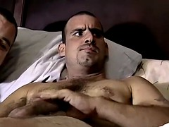 Uncle tom unskilled masturbates and swallows a huge cock on a bed