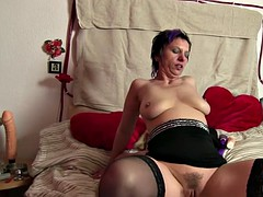 German lesbian toys pussy and takes cock