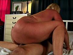 beautiful big tits blond superannuated spunker enjoys a facial cumshot