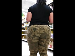 Candid bbw mixed fat there in camo
